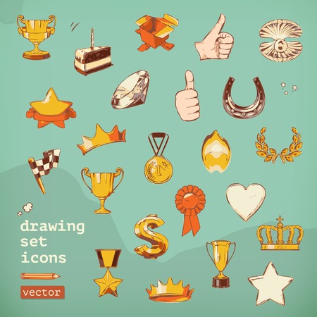 Awards and achievement, drawing set vector icons Vector