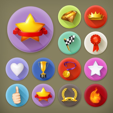 medal like: Awards and achievement, long shadow icon set