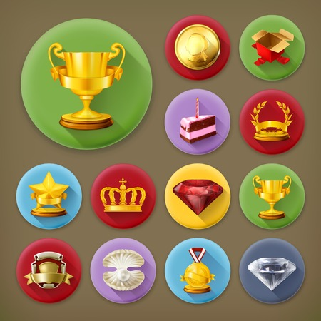 award trophy: Awards and achievement, long shadow icon set