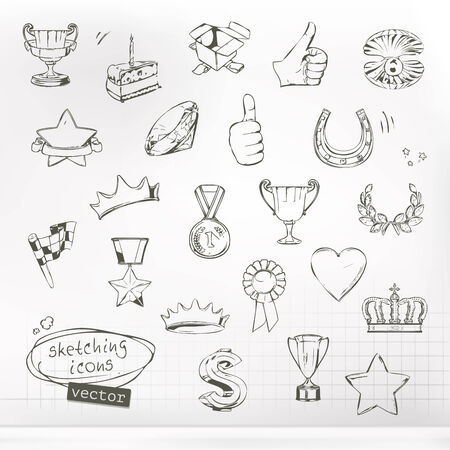 Awards and achievement, sketches of icons vector set Vector