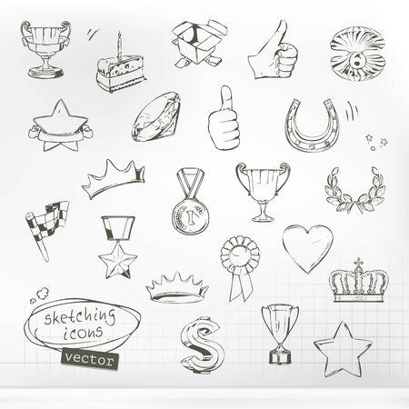 estrella caricatura: Premios y logros, bocetos de conjunto de iconos del vector