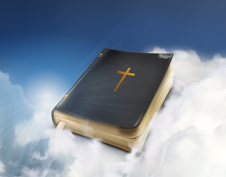 bible background: Bible, old book in the clouds vector illustration