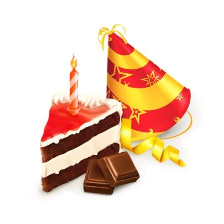 chocolate slice: Birthday cake, isolated vector illustration