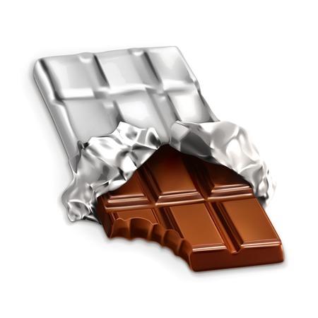 casse-cro�te: barre de chocolat, un morceau de chocolat savoureux, vecteur illustration isol� sur fond blanc