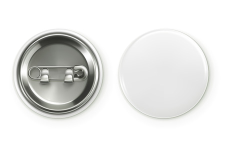 shiny buttons: Blank white badge, vector realistic illustration