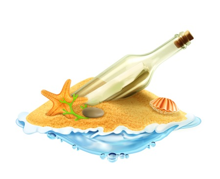 hot water bottle: Bottle with a letter in the sand vector illustration
