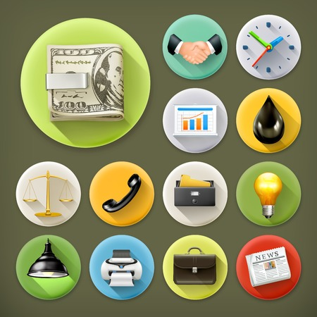 law and order: Business and office, long shadow icon set