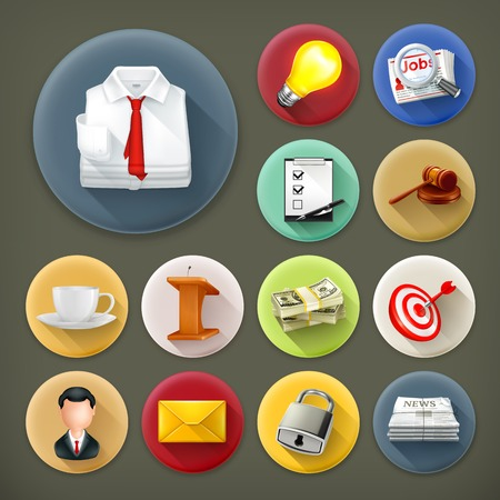 Business and office, long shadow icon set Vector