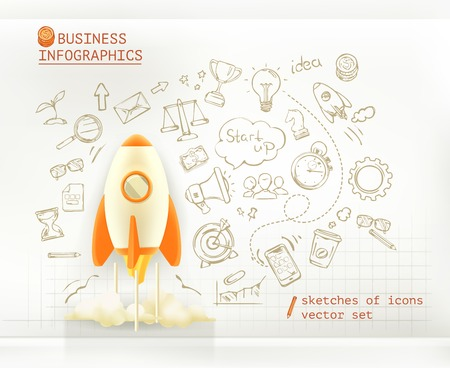 at the start: Business infographics, start up vector set Illustration