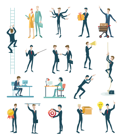 peoples: Business peoples, set of icons flat design