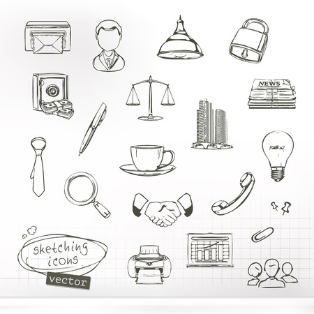 purchasing manager: Business sketches of icons, vector set