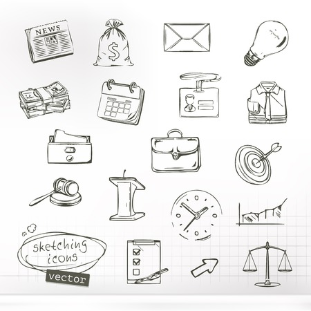 Business sketches of icons, vector set
