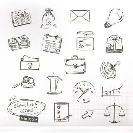Zaken schetsen van iconen, vector set