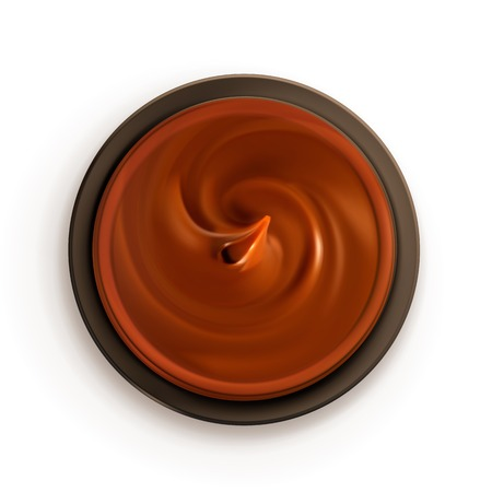 chocolate swirl: Chocolate cream, top view vector illustration