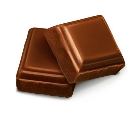 Pedazos del chocolate, ilustración vectorial Foto de archivo - 32260381