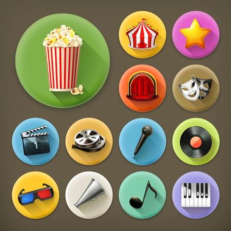 cinema screen: Cinema, music and theater, long shadow icon set