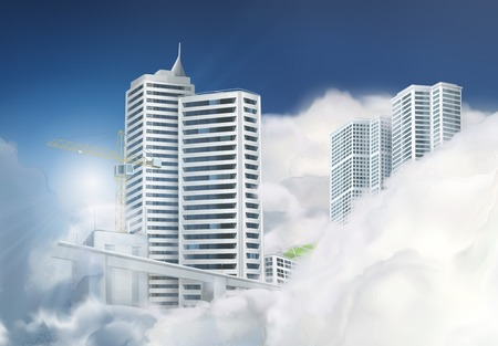 web design bridge: City in the clouds, vector background Illustration