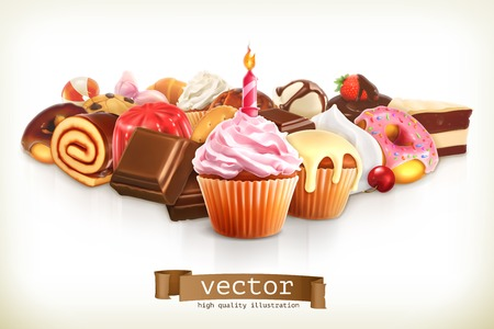 cupcakes: Festive cupcake with candle, confectionery illustration