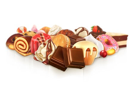 chocolate mousse: Chocolate, confectionery illustration Illustration