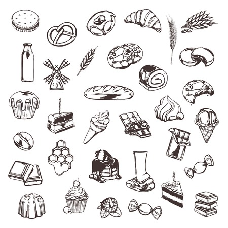 Confectionery, sketches of icons set