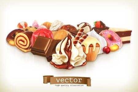 postres: Postre dulce con chocolate, ilustración de confitería