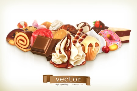 Sweet dessert with chocolate, confectionery illustration Illustration