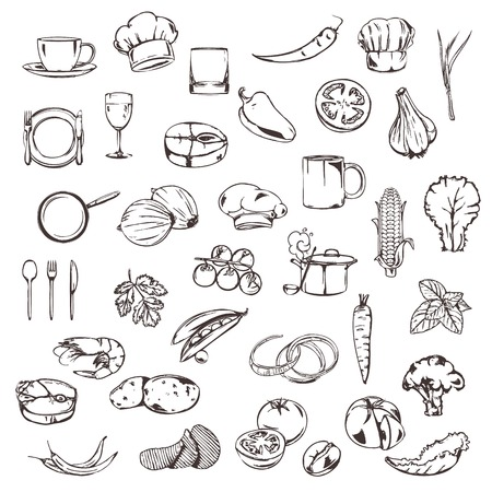 Food, sketches of icons set Vector