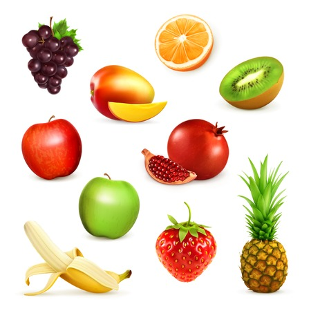 Fruits, set of illustrations Vettoriali