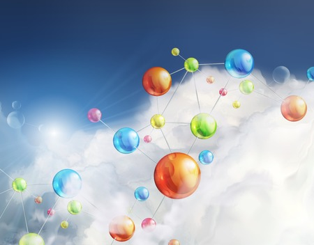 Futuristic background with molecules, illustration