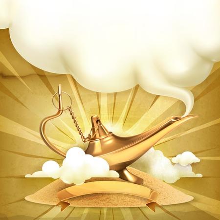 Genie lamp, illustration