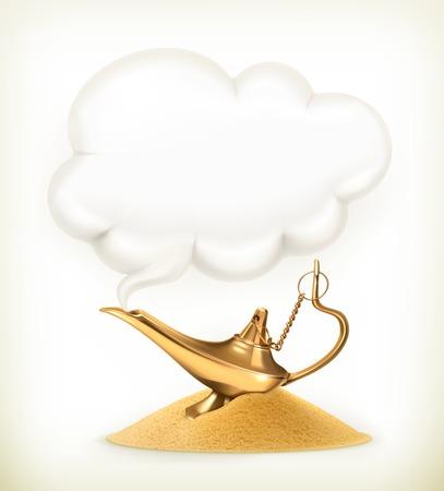 lampara magica: Genio de la lámpara, ilustración Vectores