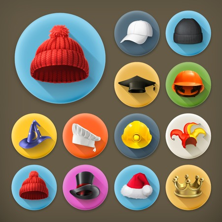 Hats, long shadow icon set Vector