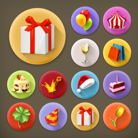 Holiday and gifts, long shadow icon set Vector