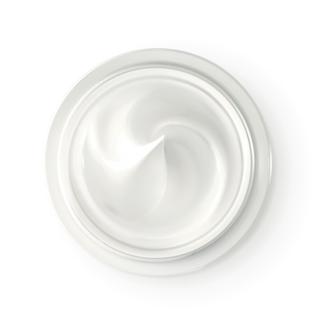 cosmetics products: Hygienic cream, top view vector illustration