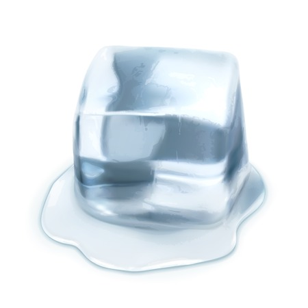 frozen water: Ice cube, vector illustration isolated on white background
