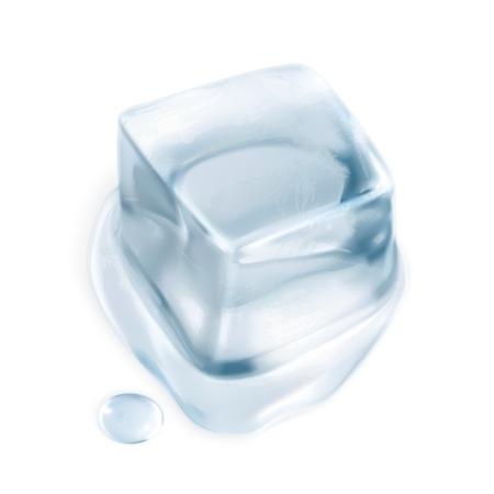 refrigerate: El cubo de hielo, ilustraci�n vectorial aislados en fondo blanco Vectores