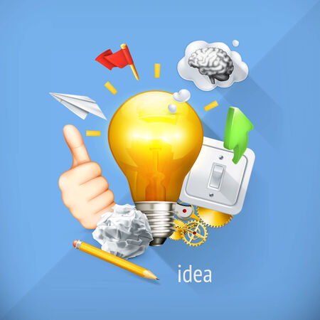 Idea concept, business brainstorming, vector illustration. Vector