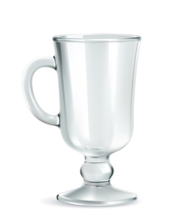 Traditional mug for Irish coffee, empty, vector illustration isolated on white background