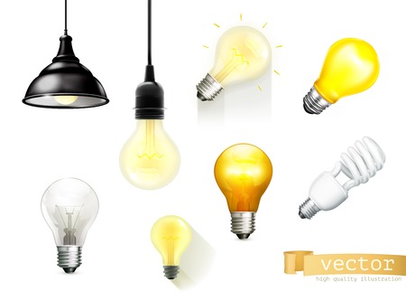 by light: Light bulbs, set of vector icons
