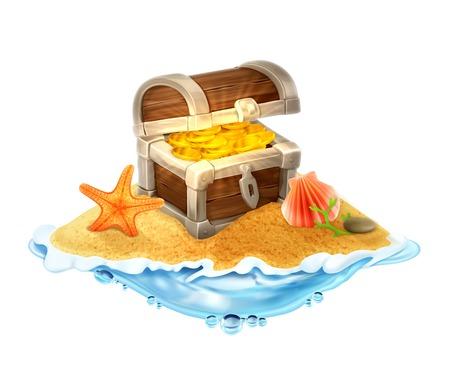 isla del tesoro: Cofre del tesoro perdido de oro en la ilustración isla vector