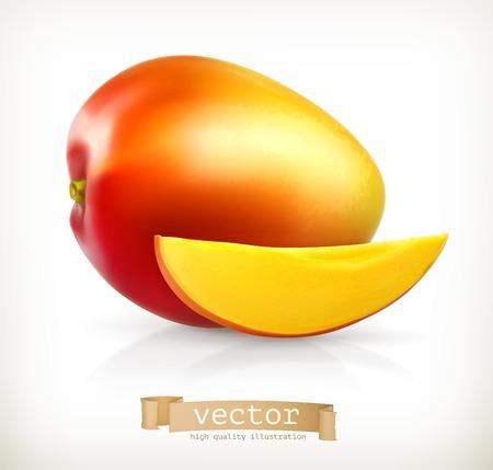mango slice: Mango, vector illustration