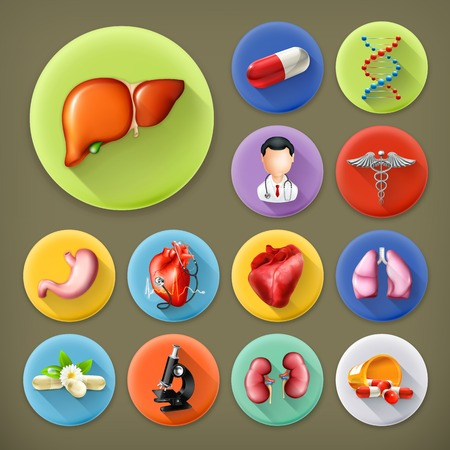 Medicine and Health, long shadow icon set Vector