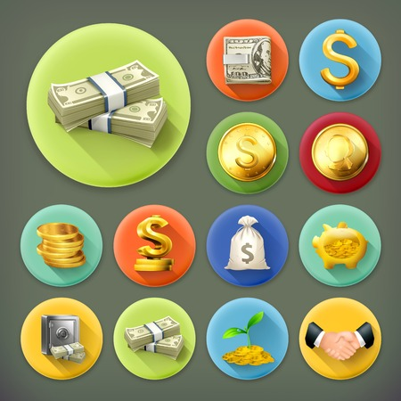 banco dinero: El dinero y las monedas, negocios y finanzas larga sombra vector icon set Vectores