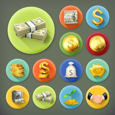 pieniądze: Pieniądze i monety, biznes i finanse długi cień zestaw ikon wektorowych Ilustracja