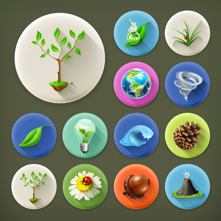 earth nut: Nature and Ecology, long shadow icon set
