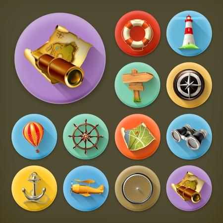 Navigation, long shadow icon set Vector