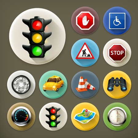 Navigation, long shadow icon set Vector