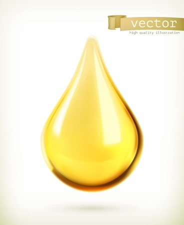 symbol yellow: Oil drop, vector icon Illustration