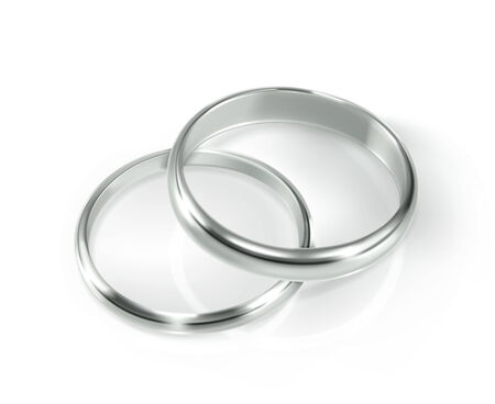 silver wedding anniversary: Pair of silver wedding rings, vector illustration