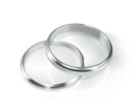 bodas de plata: Par de anillos de bodas de plata, ilustración vectorial